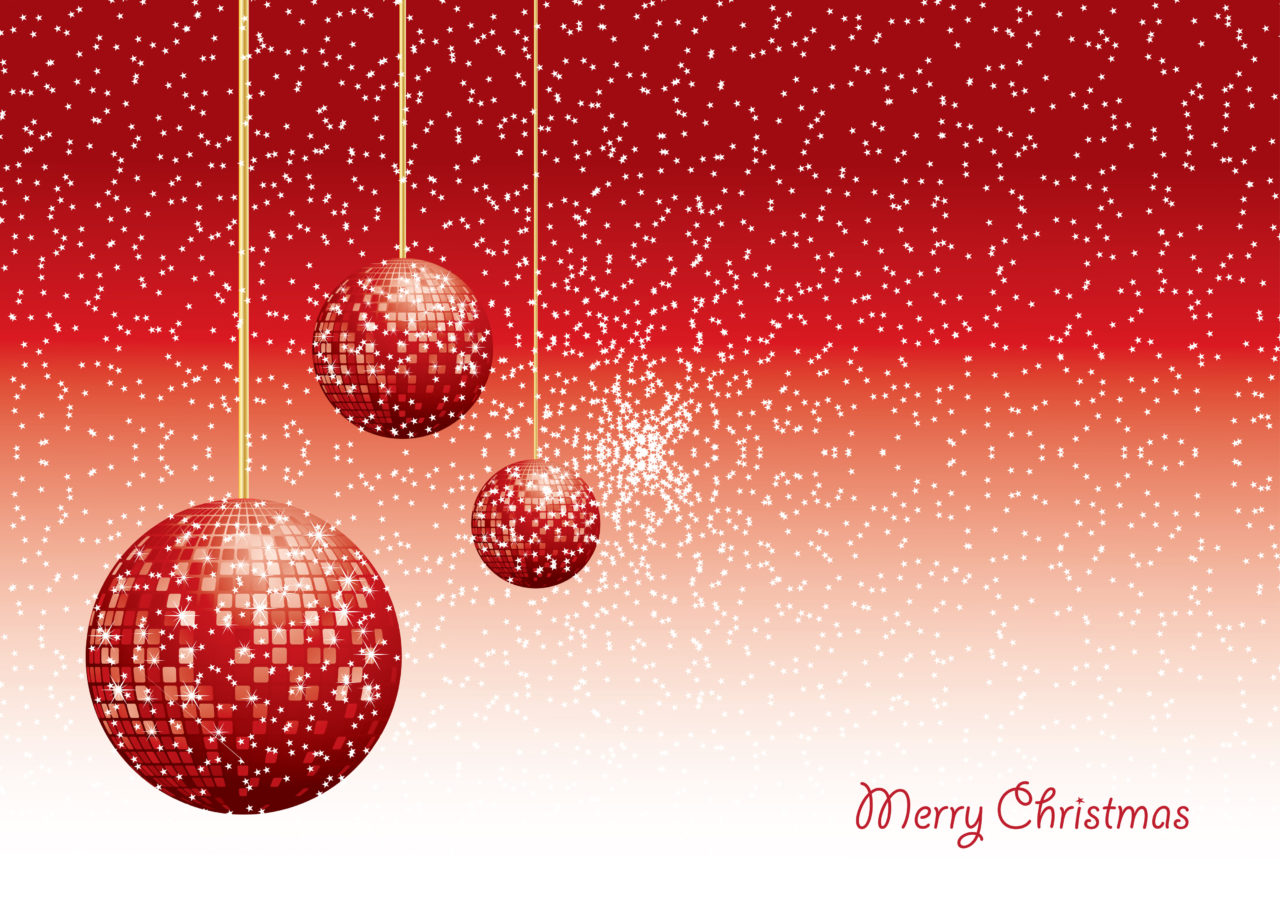 Christmas Baubles With Snow And Copy Space, Vector Illustrated Background